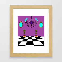 An Elegant Hall of Mirrors with Chandler and Topiary in Purples Framed Art Print