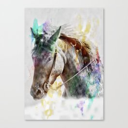Watercolor Horse Portrait Canvas Print