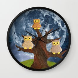 Owling at the Moon Wall Clock