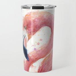 Pink Flamingo Watercolor Travel Mug