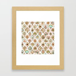 PEACOCK MERMAID Rose Gold Mint Scales and Feathers Framed Art Print