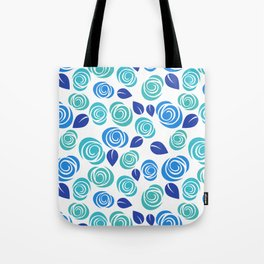 Pretty Aqua Blue and Teal Floral Pattern Tote Bag
