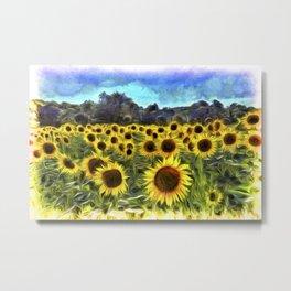 Sunflower Fields Of Summer Van Goth Metal Print