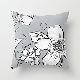 Merry Marsh Marigold - Black and White Throw Pillow
