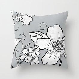 Merry Marsh Marigold - Black and White Throw Pillow