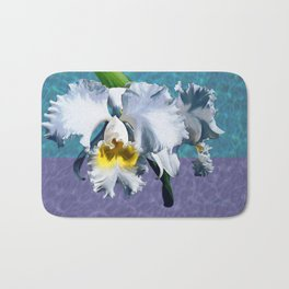 White Orchid Over Water Bath Mat
