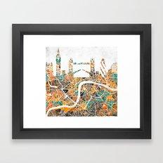 LONDON Skyline + map #2 Framed Art Print