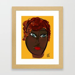 Black Woman Portrait on Yellow Framed Art Print