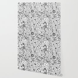 Black on White Florals Wallpaper