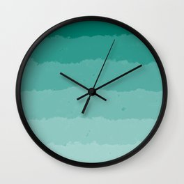 Teal Clouds Layers Wall Clock