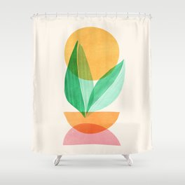 Summer Stack / Abstract Plant Illustration Shower Curtain