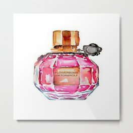 Perfume Bottle Vanity Watercolor Metal Print