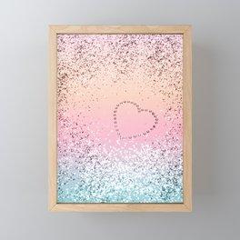 Summer UNICORN Girls Glitter Heart #1 (Faux Glitter) #shiny #pastel #decor #art #society6 Framed Mini Art Print