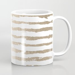 Simply Brushed Lines White Gold Sands on White Coffee Mug