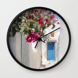 Blue Door with Pink Flowers Santorini Greece Wall Clock