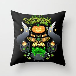 Double Double Toil and Trouble Throw Pillow