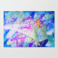 coldplay Canvas Prints featuring Chris Martin-Coldplay-Digital Impressionism by Sophie Grace