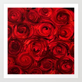 Red Apple Roses Abstract Art Print