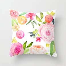 Floral Watercolor in Pinks, Coral, Yellow, and Greens Throw Pillow