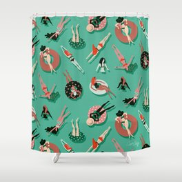 Swimming Ladies – Mint & Red Palette Shower Curtain
