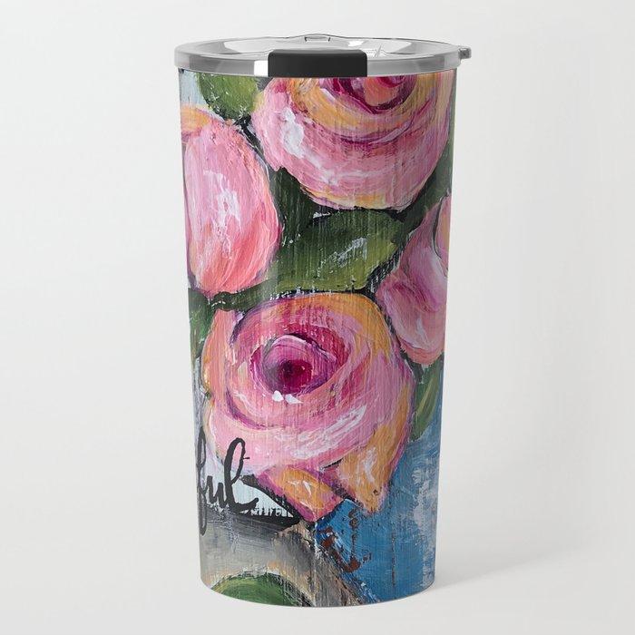 pink roses shabby chic farmhouse style Travel Mug