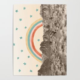Canyon Desert Rainbow // Sierra Nevada Cactus Mountain Range Whimsical Painted Happy Stars Poster