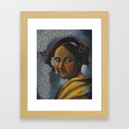 After: Young Woman Seated at a Virginal. Framed Art Print