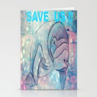 manatee Stationery Cards featuring Whimiscal Manatee by Judy Skowron