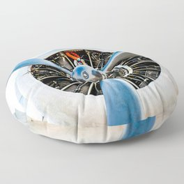 Legendary Vintage Aircraft Engine And Propeller On White Floor Pillow