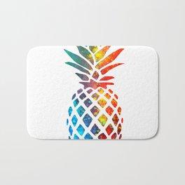 Watercolor and Splatter Pineapple II Bath Mat