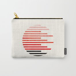 Mid Century, Modern, Minimalist, Circle, Round Photo, Vermillion Watercolor, Staggered Stripe, Patte Carry-All Pouch