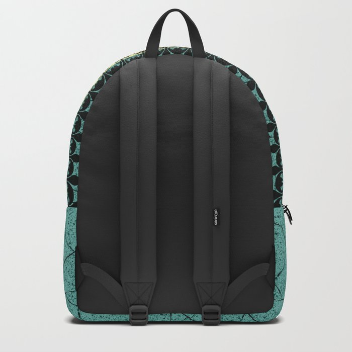 Yellow , turquoise background with decorative vertical stripe. Backpack