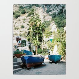 "Travel photography print ""Boats on the amalfi coast"" - made in italy. Sunny, colorful photo Poster"