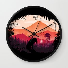 Lonely Wolf in The Cave Wall Clock