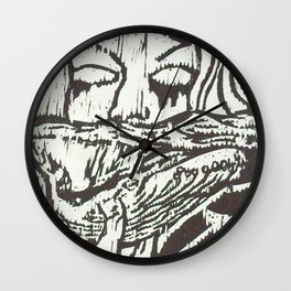 Woman, Whale and the Sea- Woodcut Wall Clock