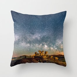 Panorama Bisti Badlands Hoodoos Under New Mexico Starry Night by OLena Art Throw Pillow