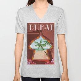 Dubai travel poster Unisex V-Neck