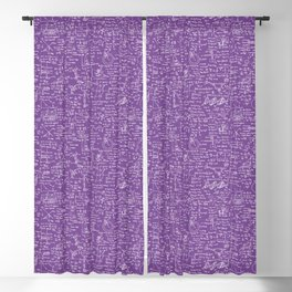 Physics Equations on Purple Blackout Curtain