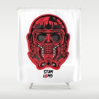 starlord Shower Curtains featuring Protector of the Galaxy by theDesign Attic