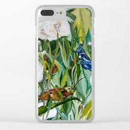Grasshoppers and Dandelions (Oil Painting) Clear iPhone Case