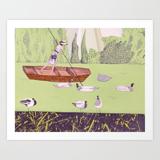 Punting on the Camb Art Print