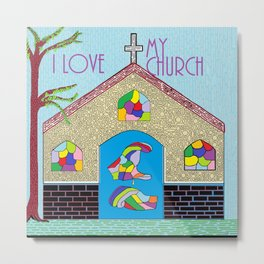 ASL I Love my Church Metal Print