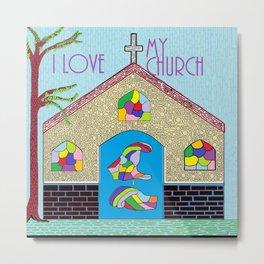 ASL I Love my Church Metal Print