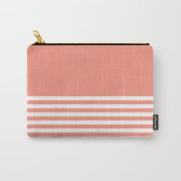 Light Coral Half Striped Carry-All Pouch