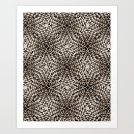 Black and Tan Geometric Modern Chrysanthemum Pattern Art Print