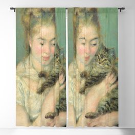 Woman with a Cat Oil Painting by Auguste Renoir Blackout Curtain