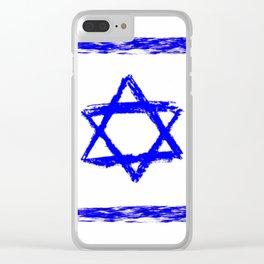 flag of israel 9-יִשְׂרָאֵל ,israeli,Herzl,Jerusalem,Hebrew,Judaism,jew,David,Salomon. Clear iPhone Case