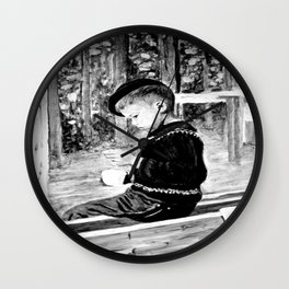 Little Boy With Coffee Cup Wall Clock