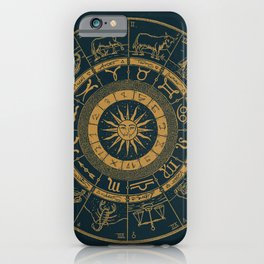 Vintage Zodiac & Astrology Chart | Royal Blue & Gold iPhone Case