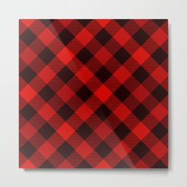 Dark Red Diagonal Paid. Large-Scale Checkered Pattern. Metal Print